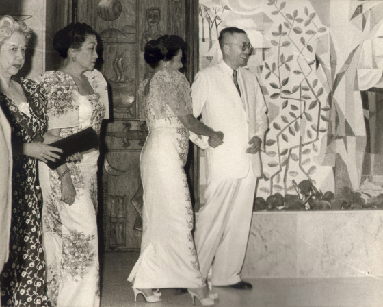 Don Eugenio Lopez, Sr. welcoming Mrs. Leonila Garcia, Mrs. Esperanza Osmeña and Mrs. Trinidad Roxas to the Lopez Memorial Museum during the inaugural ceremonies, 13 Feb 1960